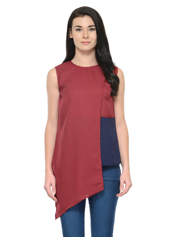 Maroon and Blue Chic Top