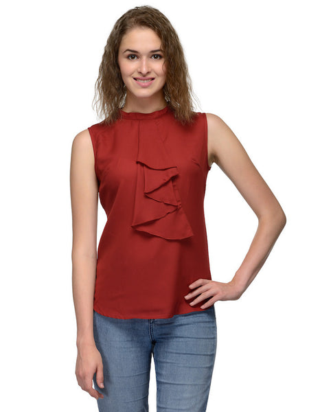 Dark Red Sleeveless Top
