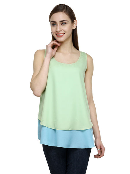 Sea Green and Light Blue Sleeveless Top