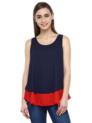 Indigo Blue and Red Sleeveless Top