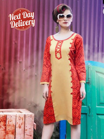 Beige and Red Rayon Kurti