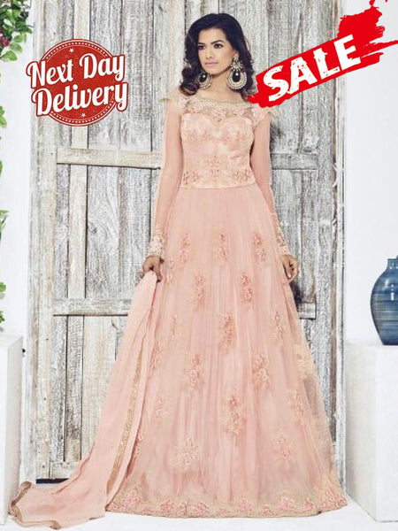 Crepe Pink Anarkali Gown Suit
