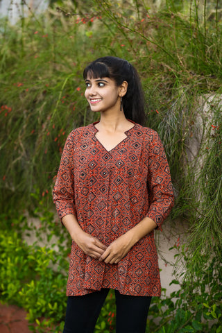 Red Geometric Ajrakh Handcrafted Cotton Short Kurti
