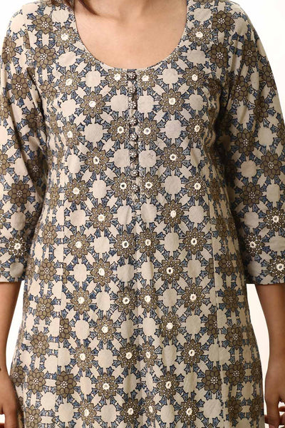 Off white Indigo Mirror Work Kurta