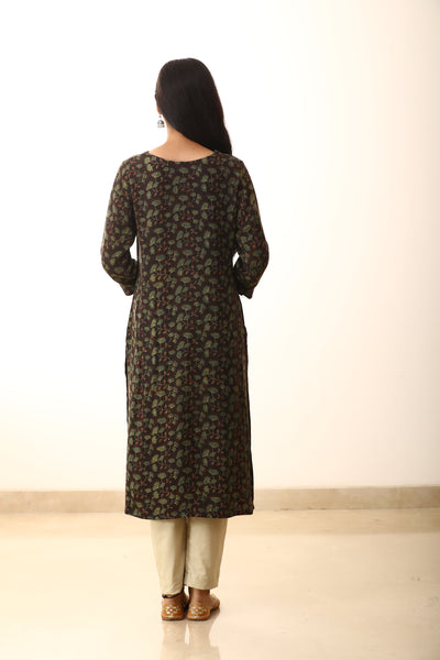 Brown Silk Floral Hand-crafted Straight Cut Kurti