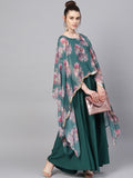 Sea Green Crepe Floral Cape Style Printed Gown