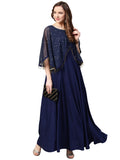 Navy Blue Crepe Printed Anarkali Kurti