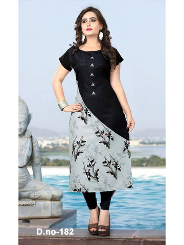 Designer Digital Printed Multi Color Soft American Crepe Kurti