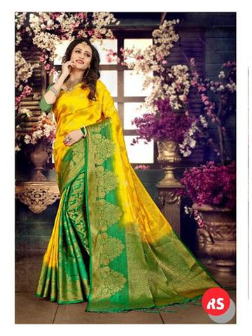 Designer Yellow and Parrot Color in Palti Pallu Style Silk Saree