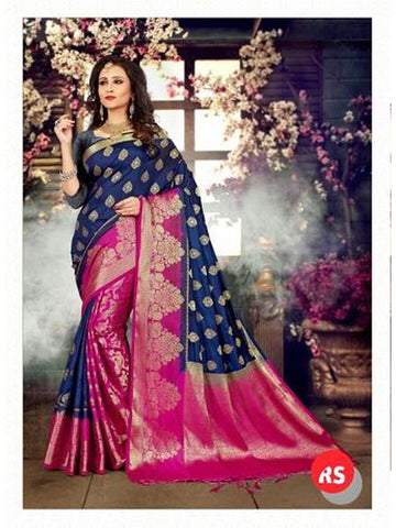 Designer Blue and Pink Color in Palti Pallu Style Silk Saree