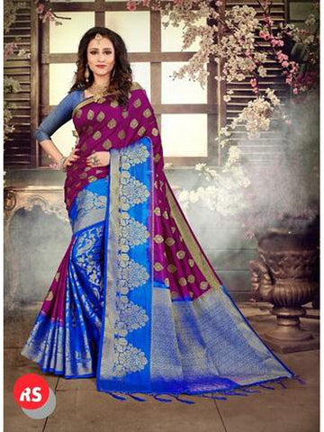 Designer Purple and Royal Blue Color in Palti Pallu Style Silk Saree