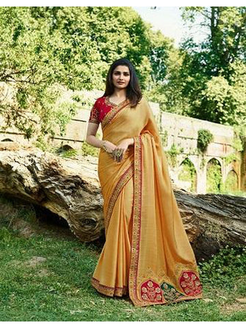 Designer Yellow and Red Color Heavy Embroidered and Thread Work Rangoli Silk Saree