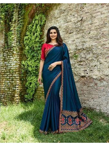 Designer Blue and Pink Color Heavy Embroidered and Thread Work Rangoli Silk Saree