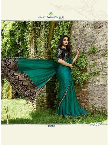 Designer Bottol Green Color Heavy Embroidered and Thread Work Rangoli Silk Saree