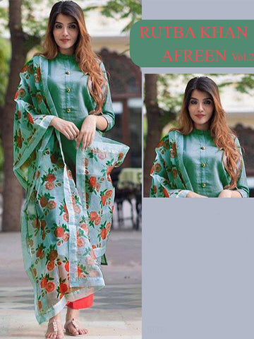 Designer Stylish Green Color Rayon Kurti With Digital Dupatta & Bottom
