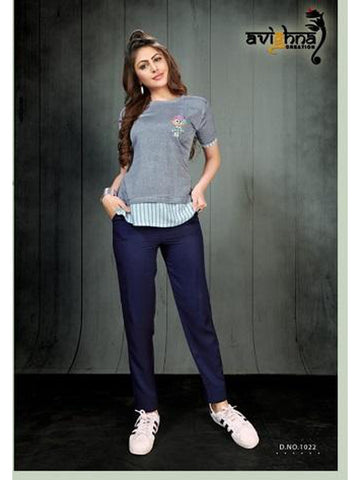 Designer Light Grey Rayon Top with Rayon Pant