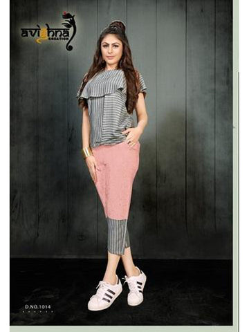 Designer Grey Color Rayon Top with Rayon Pant