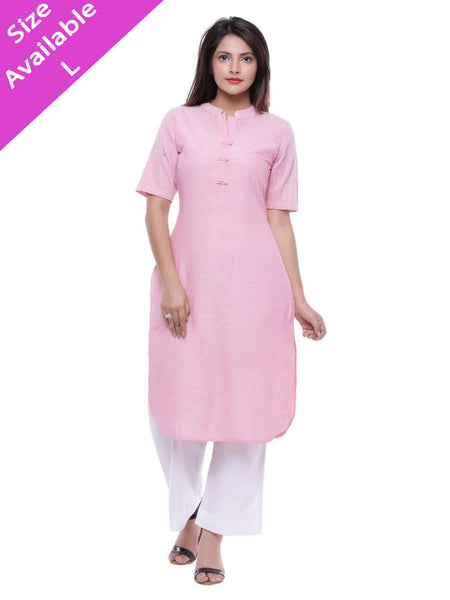 Ayan Pink & Pink Short Sleeve Formal Wear Straight Kurti