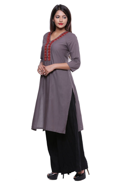 Ayan Grey & Maroon  Casual Wear Straight Kurti
