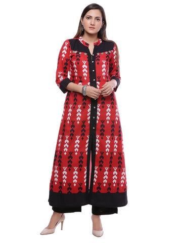 (2XL Size) Designer Cotton Anarkali Kurti in Red Color