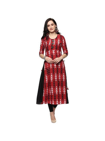 beautiful Embroidered Red Color Cotton Kurtis