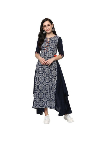 beautiful Embroidered Blue Color Cotton Kurtis
