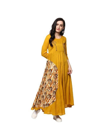beautiful Embroidered Yellow Color Rayon Kurtis