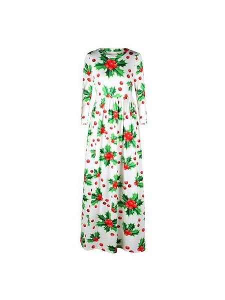 New Fashion O Neck Printing Flower Maxi Dress