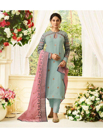 Designer Embroidered Pure Maslin Silk Light Blue Color Straight Cut Suit