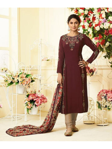 Designer Embroidered Pure Maslin Silk Maroon Color Straight Cut Suit