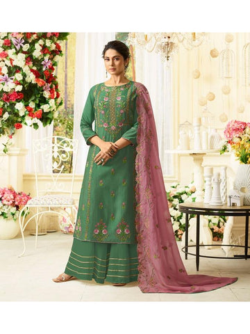 Designer Embroidered Pure Maslin Silk Green Color Straight Cut Suit