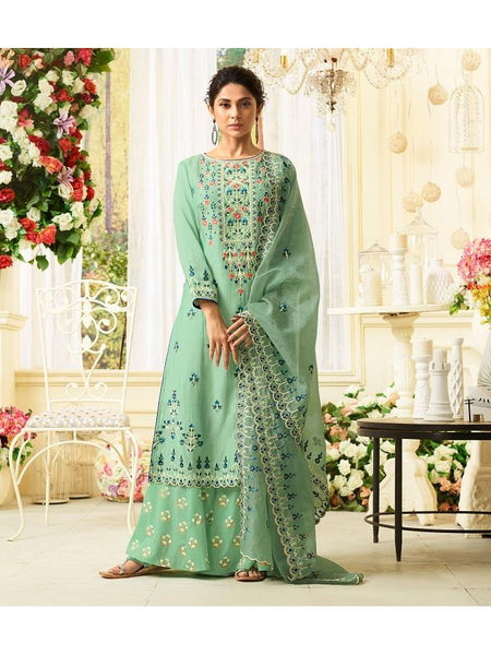 Designer Embroidered Pure Maslin Silk Light Green Color Straight Cut Suit