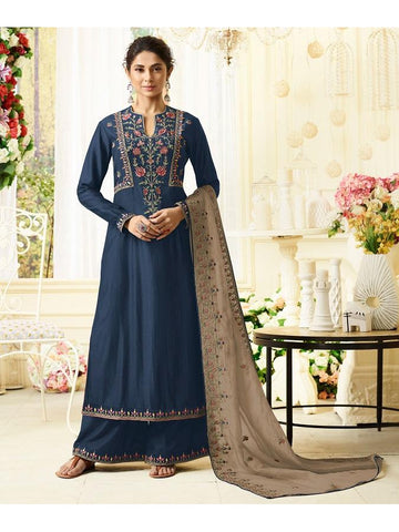Designer Embroidered Pure Maslin Silk Blue Color Straight Cut Suit