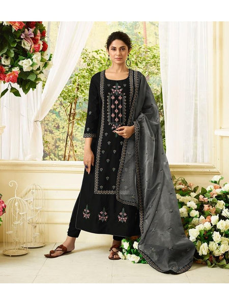 Designer Embroidered Pure Maslin Silk Black Color Straight Cut Suit