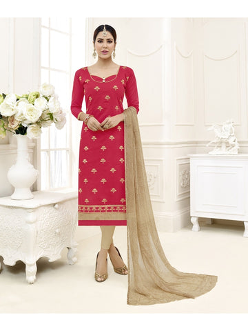 Embroidered Straight Cut Suit in Red Color  With Chiffon Dupatta
