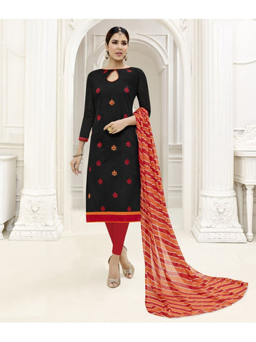 Embroidered Straight Cut Suit in Black Color  With Chiffon Dupatta