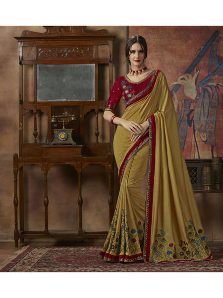 Designer and Beautiful Mustured Color Saree
