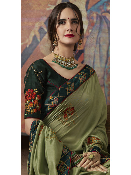 Designer and Beautiful Green Color Saree