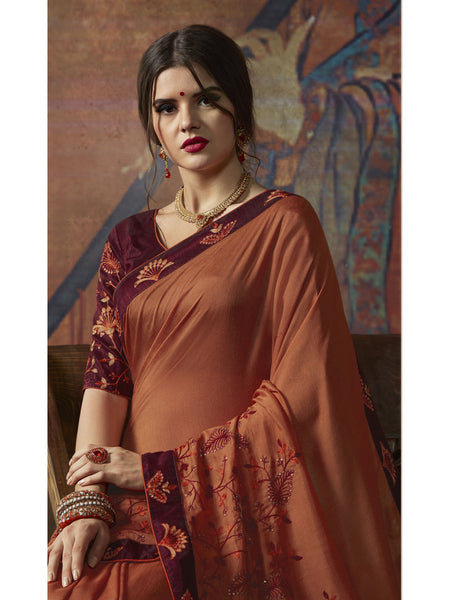 Designer and Beautiful Orange Color Saree