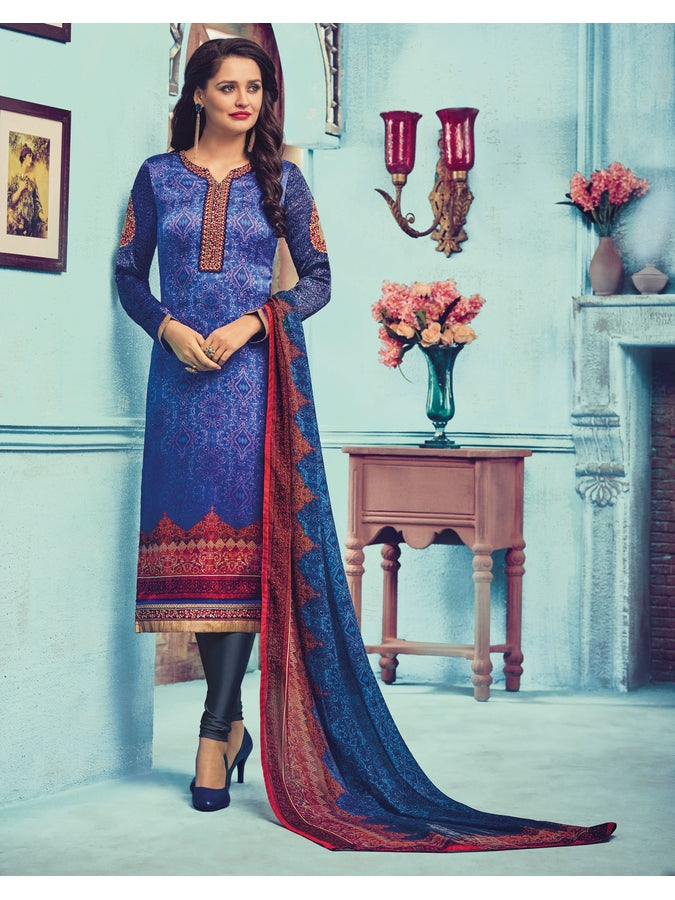 Traditional Long Straight Zari and Resham embroidered Suit