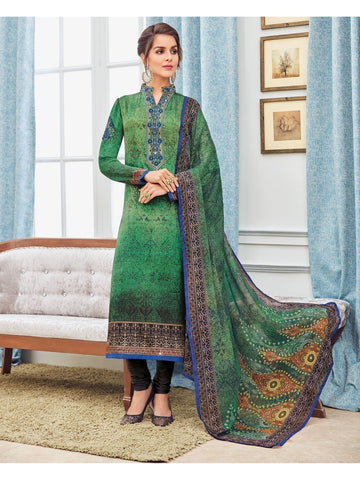 Designer Zari and Resham Embroidered Green And Blue Combination Suit