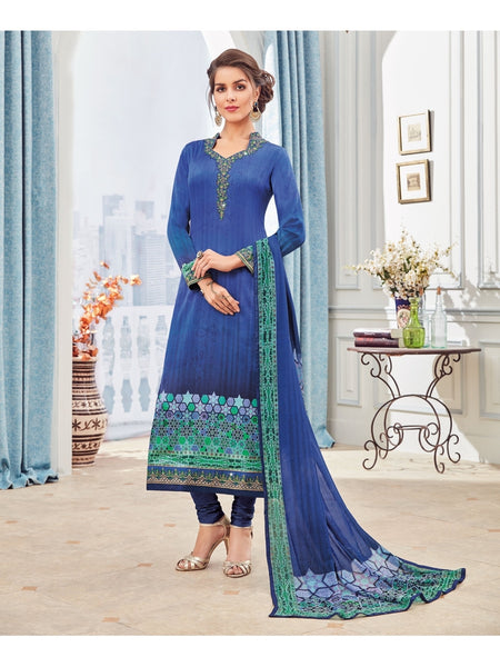 Designer Zari and Resham Embroidered Blue And Blue Combination Suit