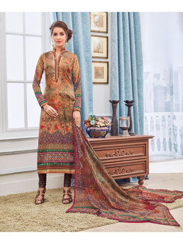 Designer Zari and Resham Embroidered Peach And Coffee Combination Suit