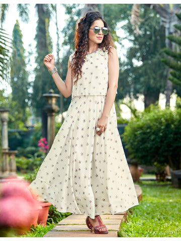 Designer Off white Color Anarkali Kurti