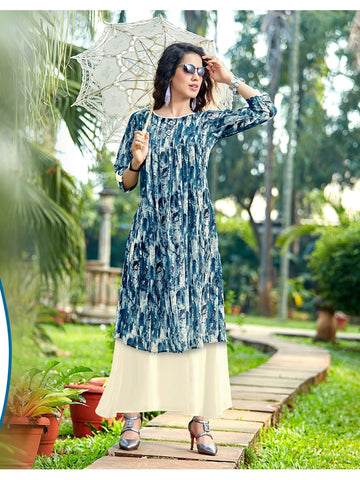 Designer Sky Blue & Off White Color Anarkali Kurti