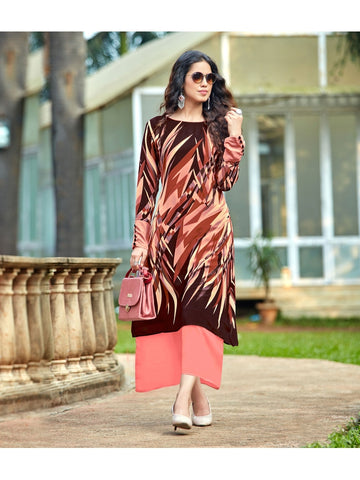Designer Brown & Peach Color Anarkali Kurti