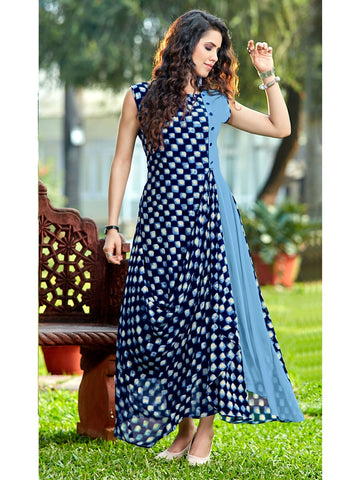 Designer Sky Blue & Blue Color Anarkali Kurti