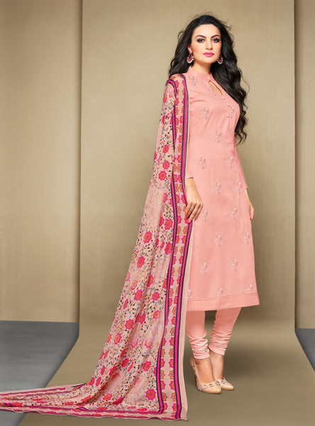 Peach Cambric Cotton Embroidered Straight Cut Suit