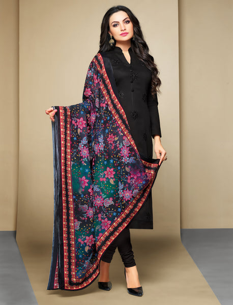Black Cambric Cotton Embroidered Straight Cut Suit