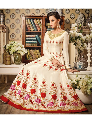 Floor Length Stitched Zari embroidery Suits